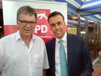 Gemeinderat Walter Thesz mit Wirtschafts- und Finanzminister Nils Schmid